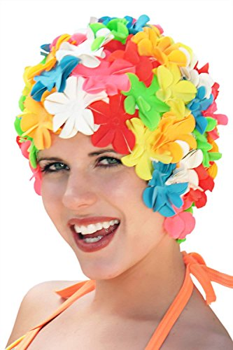 Retro Swim Caps with Flowers - Petal Bathing Cap - by Sync - Multi Brights, One Size