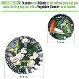 "Premium Vegetable Steamer Basket - 5.5-9.3"" - Best Bundle - Fits Instant Pot Pressure Cooker - 100% Stainless Steel - Bonus Accessories - Duo Julienne Peeler, Safety Hook Insert & Steam Food eBook"