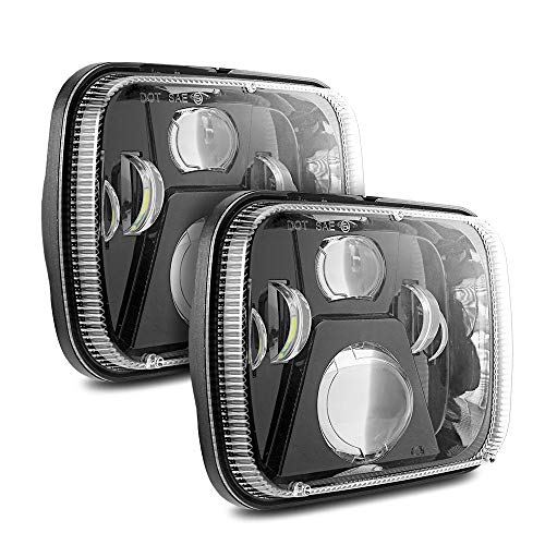 Auxbeam 2 Pcs 110W 5x7 Led Headlights Sealed Beam Headlamp with High Low Beam H6054 6054 Led Headlight for Jeep Wrangler YJ Cherokee XJ H5054 H6054LL 6052 6053(Black)