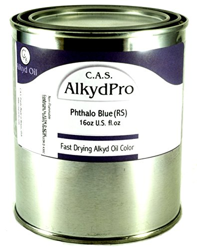 C.A.S. Paints AlkydPro Fast-Drying and Pigment PB15:4 Oil Color Paint Can, 16-Ounce, Phthalo Blue (RS)