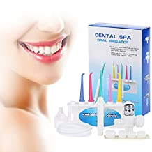 ROSEGAL Portable 360° Oral Irrigator Floss Dental Flosser Tooth Pick SPA Cleaner Connect the Tap With the Hose for Home Use(1 set, White)