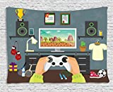 Lunarable Gamer Tapestry by, Gaming Guy in His Flat with Diplomas Loud Speakers Boxing Gloves Jump Rope and Trophy, Wall Hanging for Bedroom Living Room Dorm, 60 W X 40 L Inches, Multicolor