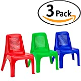 DecorRack 3 Toddler Chairs, BPA Free- Plastic Small Child Chair Set, Stackable Lightweight Portable Activity Furniture, Seat Kids Indoor Outdoor Beach Preschool Camping, Portable Play Chairs (3 Pack)