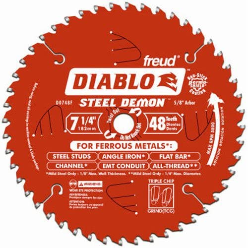 Freud Diablo DO748F Diablo Steel Demon 7 1/4 Inch 48-Tooth Titanium Carbide TCG Ferrous Metal Cutting Circular Saw Blade w/ Perma Shield Non-Stick Coating