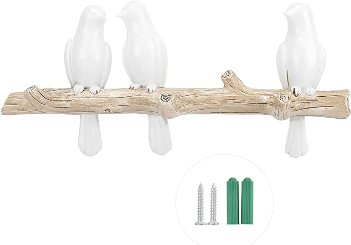 SANON Coat Hooks,Resin Decorative Birds On Tree Branch Decor Wall Mounted Coat Rack Art Decor Hanger for Coats/Hats/Keys/Towels/Clothes Storage Hanger