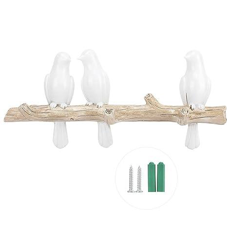 WYANG Forma de pájaro Blanco Decoración del hogar Sombrero Bolsa de Ropa Soporte de Montaje en Pared Gancho Perchero Estante