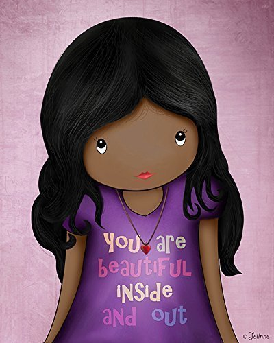 African american Girls Wall Art Decor Kids Bedroom Quote You Are Beautiful Inside and Out Unframed 8