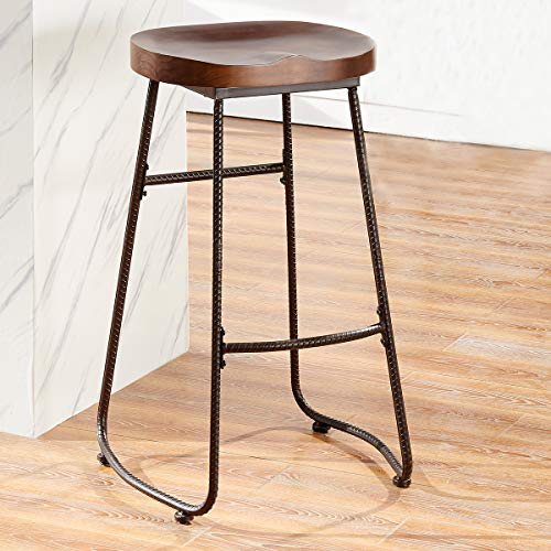 - O&K FURNITURE 30-Inch Retro Bar Stool Kitchen Chair, Backless Counter Stool with Saddle Seat, Rustic Brown (1-PC)