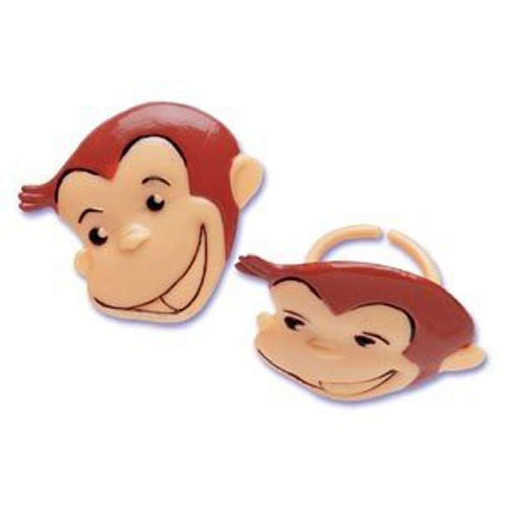 Curious George Cupcake Rings - 24 ct Bakery Supplies