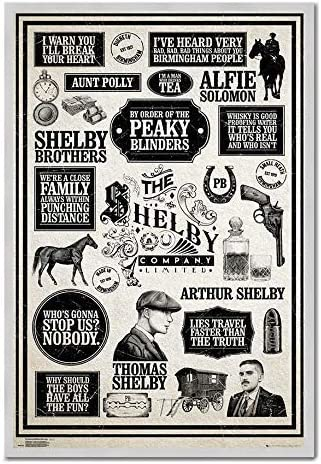 Peaky Blinders Vintage Style Infographic Poster White//Black One Size