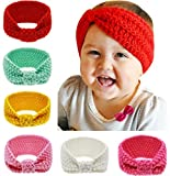 QandSweet Baby Turban Head Wrap Headbands Girl Knitting Button Hairbands (6 Pack Knotted)