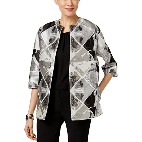 Anne Klein Women's Metallic Jacquard Jacket, Black/Silver, 10