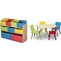 Delta Deluxe Multi-Bin Toy Organizer with Storage Bins + Delta Children Kids Table and 4 Chairs Set