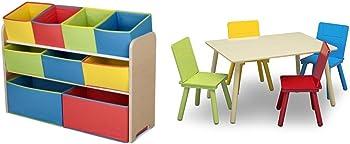 Delta Multi-Bin Toy Organizer + Kids Table & 4 Chairs Set