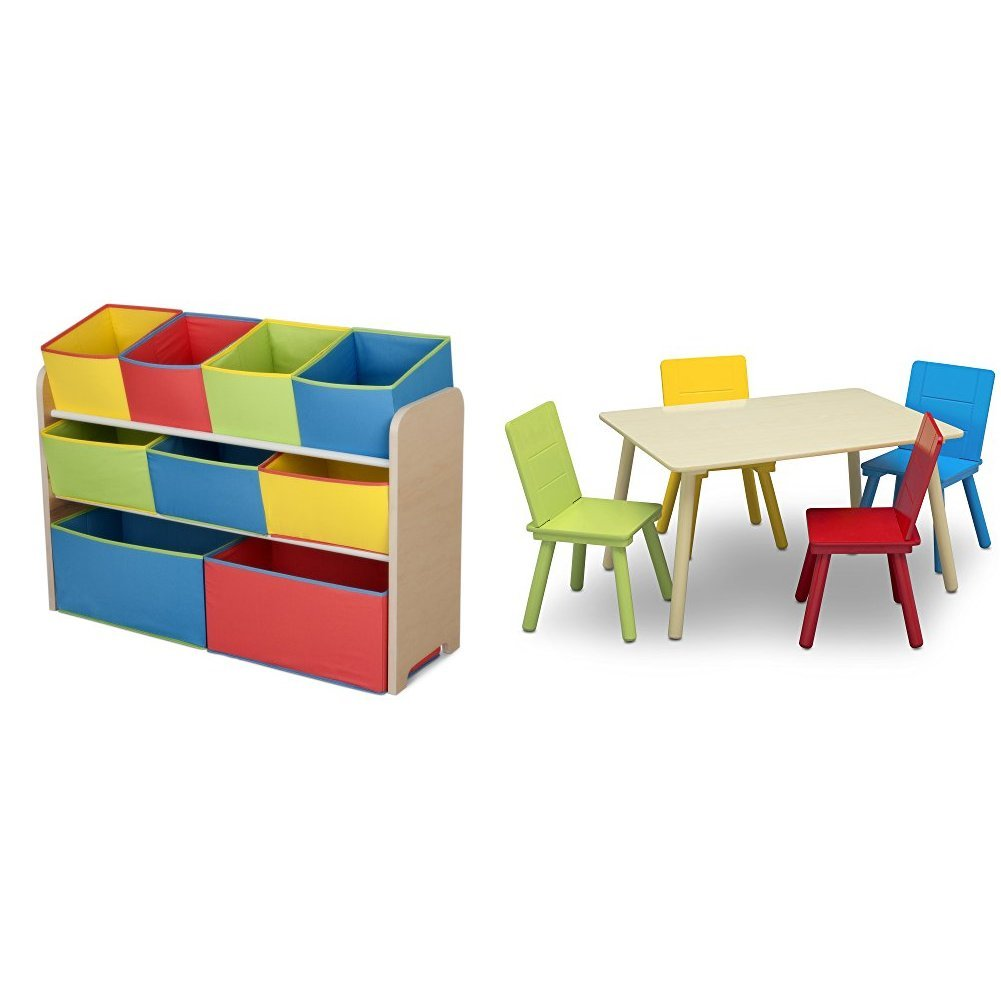 Delta Children Deluxe Multi-Bin Toy Organizer & Kids Table and Chair Set, Natural/Primary
