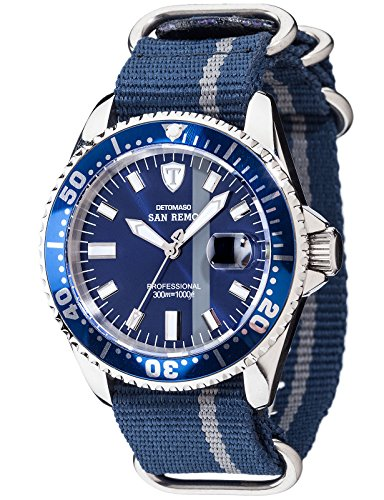 DETOMASO SAN REMO Professional Men's Automatic Watch Blue Stainless Steel Nylon Strap