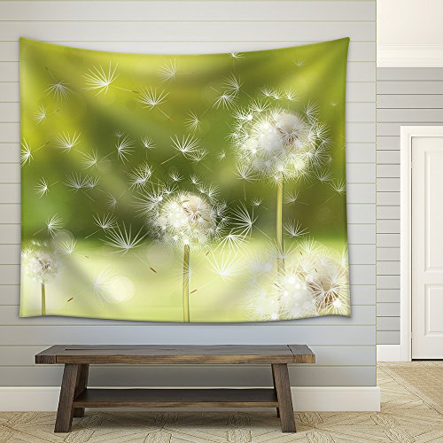 Vector spring background with white dandelions Fabric Wall