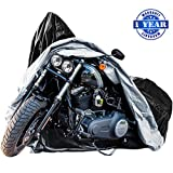 XYZCTEM Waterproof Motorcycle Cover, Fits up to 116'' Motors, Lock-holes Design, Durable & Tear Proof, for Honda, Yamaha, Suzuki, Harley and More-Professional Windproof Strap-1 Year Warranty