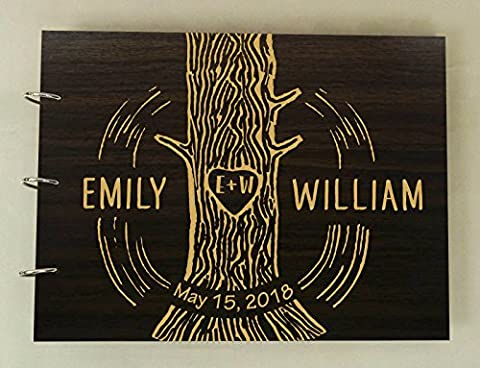 Custom Wooden Wedding Guestbook Photo Album Book Wood Engraved Anniversary Gift - Wood Photo Album Book