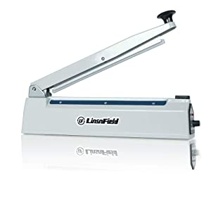 LinsnField Sealer Pro, 12-inch Super Impulse Heat Bag Sealer, 5-mm Sealing System with Patent for Never Burn Out, Antioxidant Aluminium Body, Copper Transformer, Built-in Fuse Safety System, White