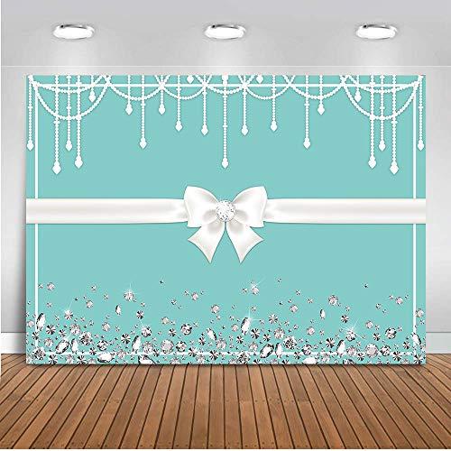 (COMOPHOTO Turquoise Blue Backdrop Breakfast Bowknot Diamonds Background Sweet 16 Birthday Theme Party Photo Background Bridal Shower Dessert Cake Table)
