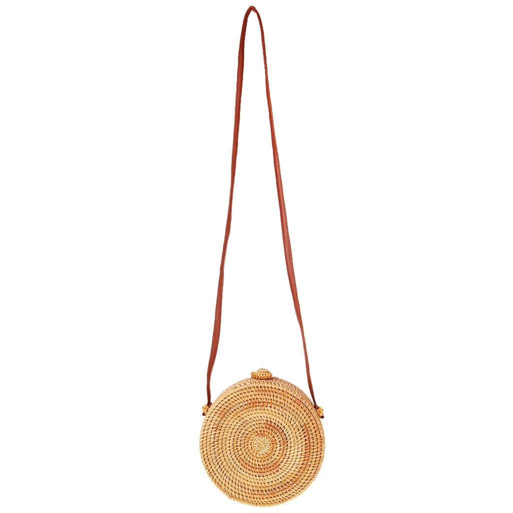 Baosity Women Girl Straw Bag Woven Round Handbag Purse Crossbody Beach Bags