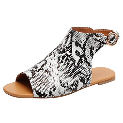 ♡QueenBB♡ Summer Sandals for Women Flat Sandal Ankle Buckle Comfortable Casual Summer Open Toe Shoes Gray
