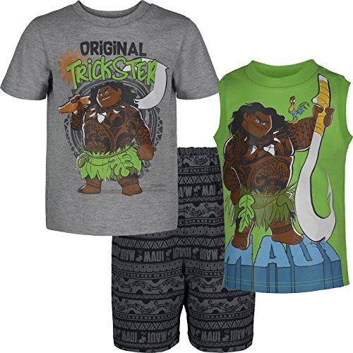 Maui T-shirt Tank Top - Disney Moana Maui Toddler Boys' 3-Piece T-Shirt & French Terry Shorts Set, Grey (3T)