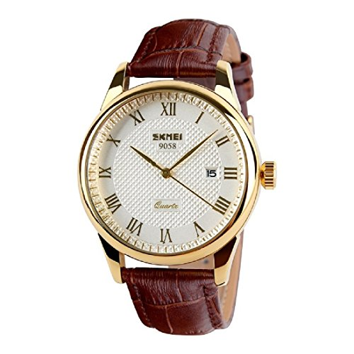 CakCity Mens Business Casual Watches Quartz Waterproof Wrist Watch with Golden Dial Brown Leather Band