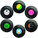 Set of 6 Coasters, SENHAI Retro Vinyl Record Mats Placemats for Cold Hot Drinks, Anti-Skid Tabletop Protection Prevents Slipping - 4.1""