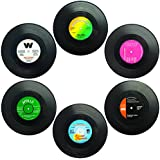 """SENHAI Set of 6 Coasters, Retro Vinyl Record Mats for Cold Hot Drinks, Anti-Skid Tabletop Protection Prevents Slipping - 4.1"""""""