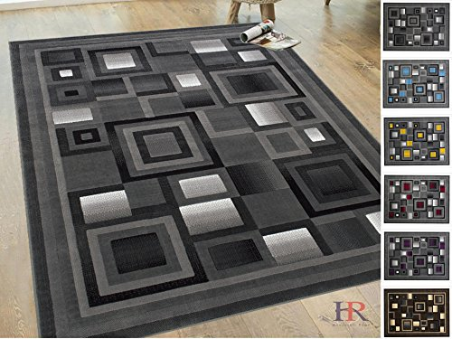 Handcraft Rugs Silver/Black and Gray Abstract Geometric Modern Squares Pattern Area Rug 8 ft. by 10 ft. ()