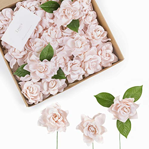 Ling's moment Artificial Flowers 25pcs Baby Pink Gardenia Flowers w/Stem for DIY Wedding Bouquets Centerpieces Arrangements Party Baby Shower Home Decorations from Ling's moment