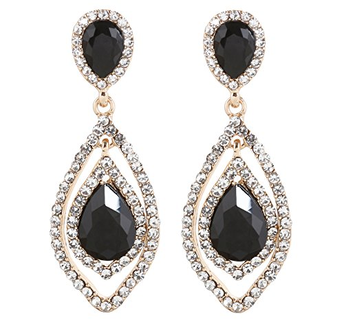 NLCAC Women Pear Shape Crystal Earrings Dangle Teardrop Rhinestone Chandelier Bridal Earring for Wedding (black ()