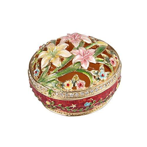 Trinket Gold Plated Crystal Silver (Treasures Jewelled Hollow Lily enameled Trinket Box)