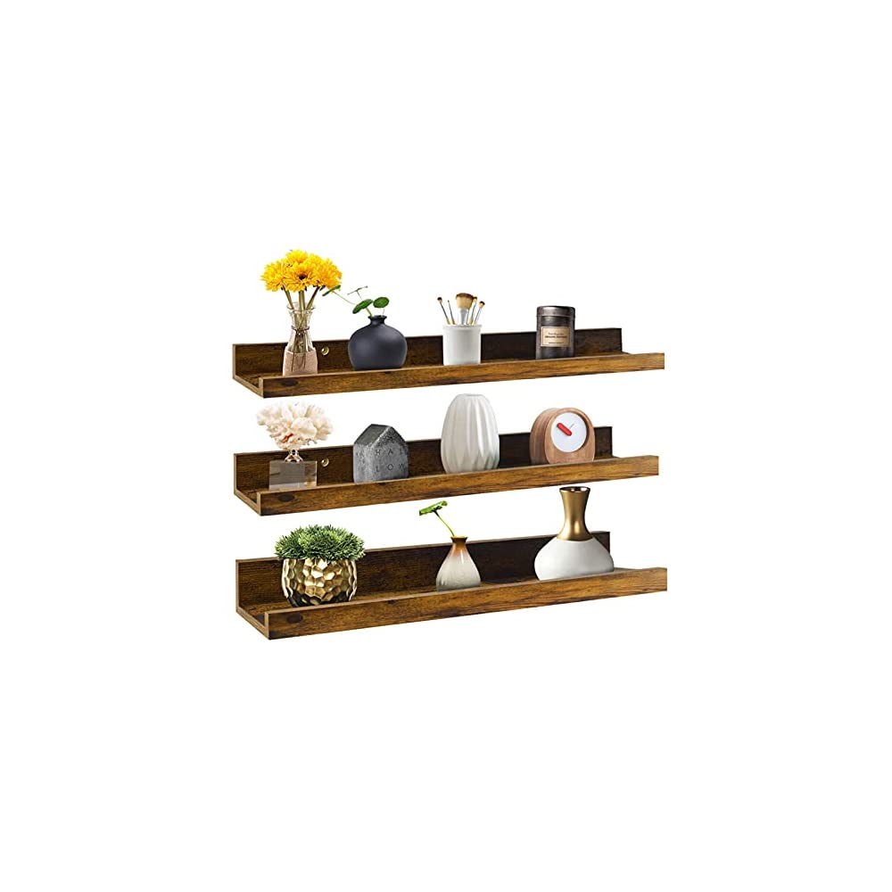 Giftgarden 24 Inch Floating Shelves Wall Mounted Set of 3, Rustic Large Wall Shelves Picture Ledge Shelf for Bedroom…