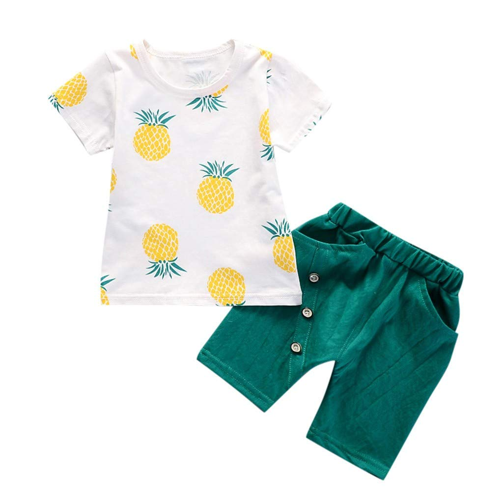 Clothful , Toddler Baby Kids Boys Pineapple T-Shirt Tops Solid Short Casual Outfit Set Green