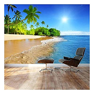 Palm Trees on Tropical Beach Vacation - Landscape - Wall Mural, Removable Sticker, Home Decor - 66x96 inches