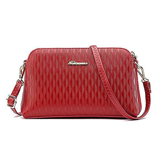 Wrist Crossbody Purse Women's Red Wrist Strap Clutch Women's Handbag Shoulder PU and Shoulder Wallet Leather Strap with Ouvin Long a0q5v5
