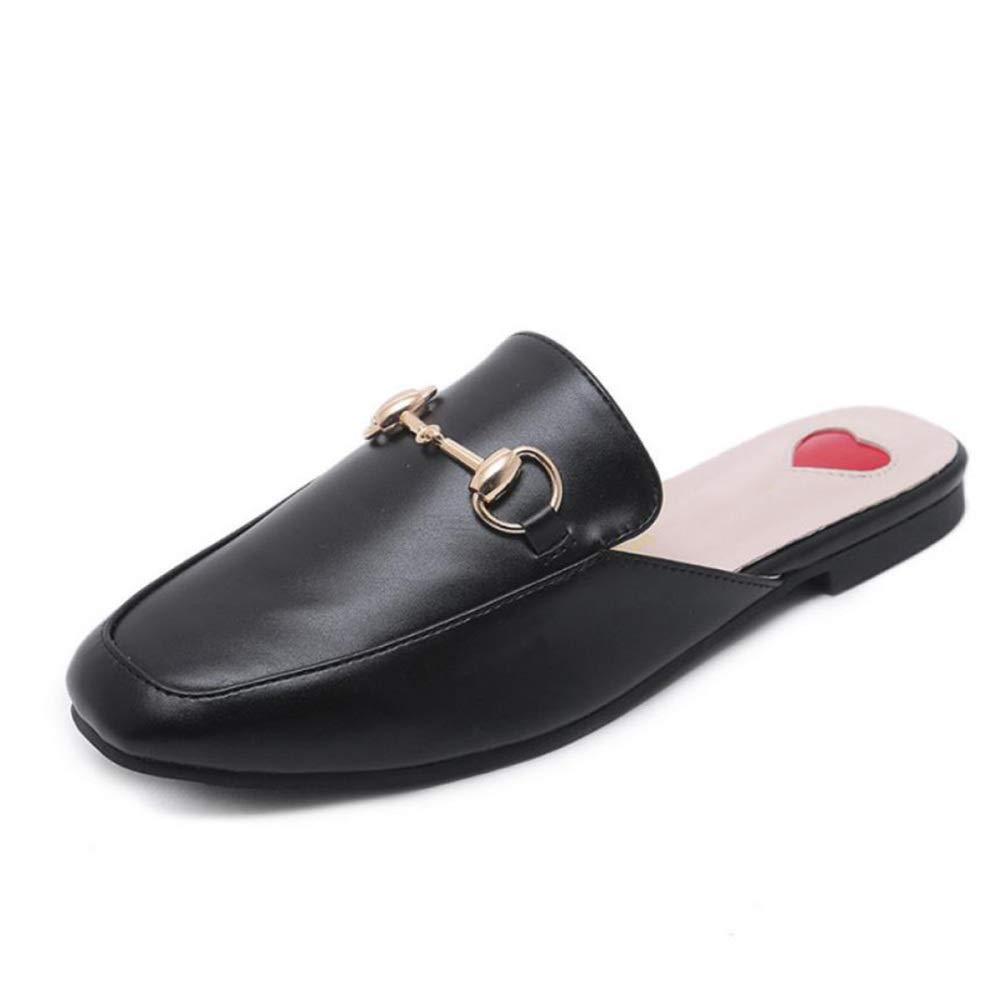 TZQ Woherren Muller Schuhe Damen Kunstleder Slip-On Flache Zip Schuhe, Wohnungen, Casual Work Office Half Slipper