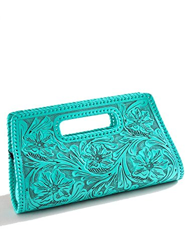 Que Chula Sobre Chico (Small) Handtooled Leather Clutch Purse Turquoise SOBRECHICO-TURQ by Que Chula