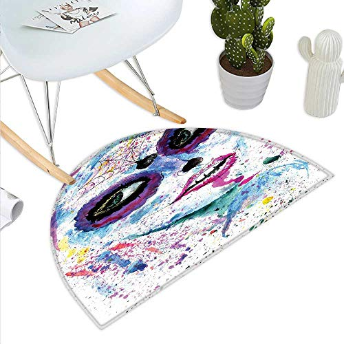 Girls Half Round Door mats Grunge Halloween Lady with Sugar Skull Make Up Creepy Dead Face Gothic Woman Artsy Bathroom Mat H 23.6