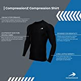 CompressionZ Mens Quick Dry Compression Long Sleeve Shirt - M, Black