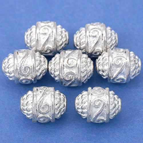 16g Rope Bali Barrel Bead Silver Plated 10.5mm Approx 7 -