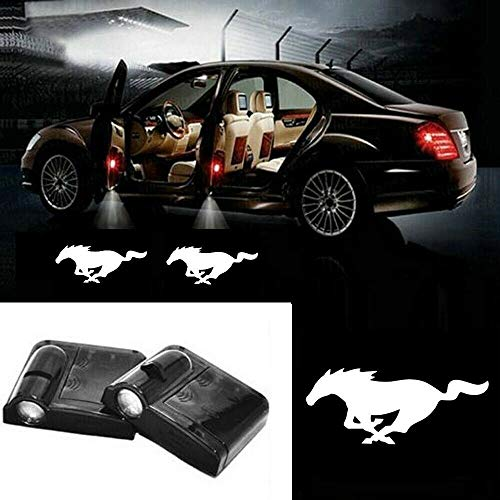 2Pcs Ghost Shadow Light Lamp Logos for Mustang Accessories, Car Door Led Welcome Laser Projector Logo Light