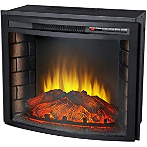 24' Curved Electric Fireplace Insert - Firebox with Heater chimney Vent free + FREE E-Book