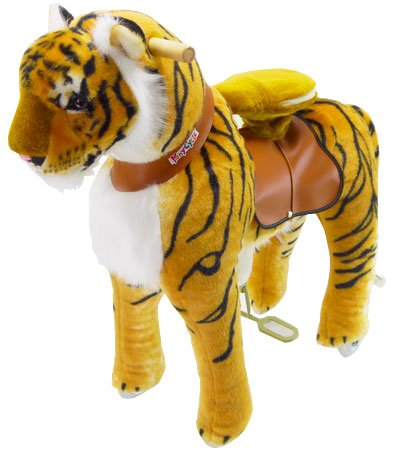 PonyCycle Official Riding Toy Mechanical Walking Tiger Giddy up Pony Plush Walking Animal for Age 4-9 Years Medium Size - N4113