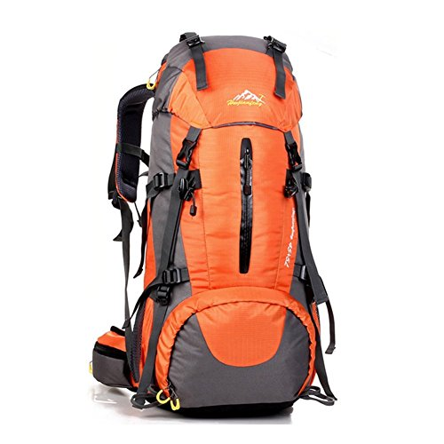 COUTUDI 50L(45+5) Sport Waterproof Outdoor Daypack Backpack with Rain Cover for Hiking Camping Climbing Mountaineering Camping Fishing Travel Cycling Skiing (Orange)
