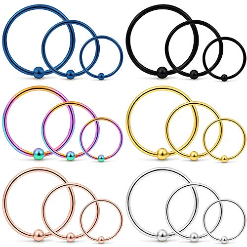 (Yaalozei 18PCS 18G Stainless Steel Attached Captive Bead Nose Hoop Rings Eyebrow Cartilage Helix Hook Earring Septum Ring Piercing Jewelry for Men Women 8mm 10mm 12mm Mix Color)