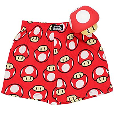 Super Mario Mushroom Mens Boxer Shorts in Bank Gift Set (Teen/Adult)